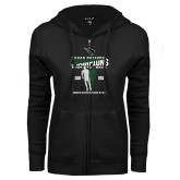 ENZA Ladies Black Fleece Full Zip Hoodie-NCCAA National Champions Womens Outdoor Track and Field back to back