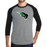 Grey/Black Tri Blend Baseball Raglan-Power Bison