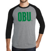 Grey/Black Tri Blend Baseball Raglan-OBU Wordmark