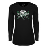 Ladies Syntrel Performance Black Longsleeve Shirt-2017 NCCAA National Champions - Baseball Crossed Bats