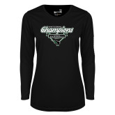 Ladies Syntrel Performance Black Longsleeve Shirt-2017 NCCAA National Champions - Baseball Script