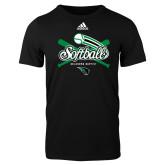 Adidas Black Logo T Shirt-Softball Crossed Bats
