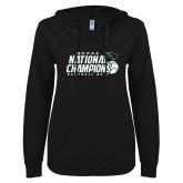 ENZA Ladies Black V Notch Raw Edge Fleece Hoodie-2017 NCCAA National Baseball Champions