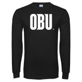 Black Long Sleeve T Shirt-OBU Wordmark