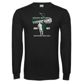 Black Long Sleeve T Shirt-NCCAA National Champions Mens Outdoor Track and Field back to back