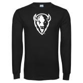 Black Long Sleeve T Shirt-Charging Bison White