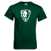 Dark Green T Shirt-Charging Bison White