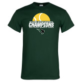 Dark Green T Shirt-NCCAA Womens Tennis Champions 2017 - Half Ball