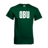 Dark Green T Shirt-OBU Wordmark
