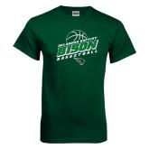 Dark Green T Shirt-Bison Basketball Slanted Stacked