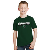 Youth Dark Green T Shirt-NCCAA National Champions - Womens Indoor Track and Field Bar