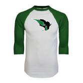 White/Dark Green Raglan Baseball T-Shirt-Power Bison