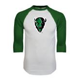 White/Dark Green Raglan Baseball T-Shirt-Charging Bison