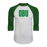 White/Dark Green Raglan Baseball T-Shirt-OBU Wordmark