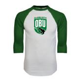 White/Dark Green Raglan Baseball T-Shirt-Shield Logo