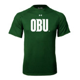 Under Armour Dark Green Tech Tee-OBU Wordmark