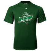 Under Armour Dark Green Tech Tee-Bison Basketball Slanted Stacked
