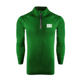 Under Armour Dark Green Tech 1/4 Zip Performance Shirt-OBU Wordmark