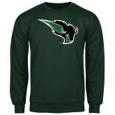 Dark Green Fleece Crew-Power Bison