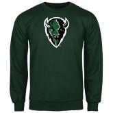 Dark Green Fleece Crew-Charging Bison