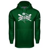 Under Armour Dark Green Performance Sweats Team Hoodie-Softball Crossed Bats