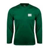 Performance Dark Green Longsleeve Shirt-OBU Wordmark