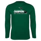 Performance Dark Green Longsleeve Shirt-NCCAA National Champions Mens Outdoor Track and Field