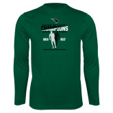 Performance Dark Green Longsleeve Shirt-NCCAA National Champions Mens Outdoor Track and Field back to back