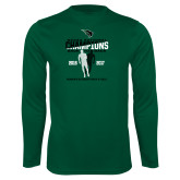 Performance Dark Green Longsleeve Shirt-NCCAA National Champions Womens Outdoor Track and Field back to back