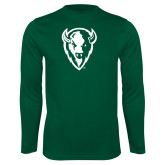 Syntrel Performance Dark Green Longsleeve Shirt-Charging Bison White