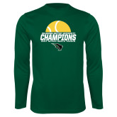 Syntrel Performance Dark Green Longsleeve Shirt-NCCAA Mens Tennis Champions 2017 - Half Ball