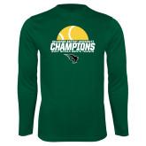 Performance Dark Green Longsleeve Shirt-NCCAA Mens Tennis Champions 2017 - Half Ball