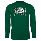 Syntrel Performance Dark Green Longsleeve Shirt-2017 NCCAA National Champions - Baseball Crossed Bats