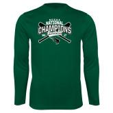 Performance Dark Green Longsleeve Shirt-2017 NCCAA National Champions - Baseball Crossed Bats