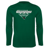 Performance Dark Green Longsleeve Shirt-2017 NCCAA National Champions - Baseball Script