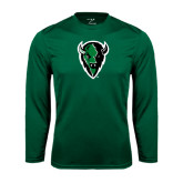 Syntrel Performance Dark Green Longsleeve Shirt-Charging Bison