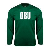 Syntrel Performance Dark Green Longsleeve Shirt-OBU Wordmark