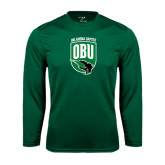 Syntrel Performance Dark Green Longsleeve Shirt-Shield Logo