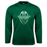 Performance Dark Green Longsleeve Shirt-Oklahoma Football Vertical