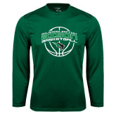 Performance Dark Green Longsleeve Shirt-Bison Basketball w/ Ball