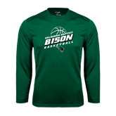 Syntrel Performance Dark Green Longsleeve Shirt-Bison Basketball Slanted Stacked