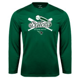 Syntrel Performance Dark Green Longsleeve Shirt-Softball Crossed Bats