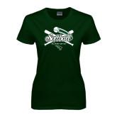 Ladies Dark Green T Shirt-Softball Crossed Bats