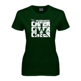 Ladies Dark Green T Shirt-Cheer Stacked