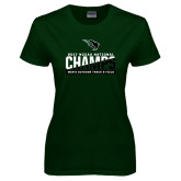 Ladies Dark Green T Shirt-NCCAA National Champions Mens Outdoor Track and Field