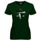 Ladies Dark Green T Shirt-NCCAA National Champions Mens Outdoor Track and Field back to back