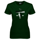 Ladies Dark Green T Shirt-NCCAA National Champions Womens Outdoor Track and Field back to back