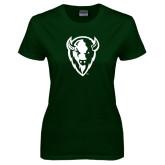 Ladies Dark Green T Shirt-Charging Bison White
