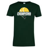 Ladies Dark Green T Shirt-NCCAA Womens Tennis Champions 2017 - Half Ball