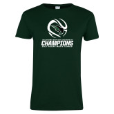Ladies Dark Green T Shirt-NCCAA Mens Tennis Champions 2017